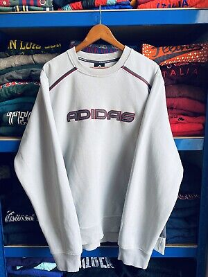 Rare Vintage 90's Adidas Embroidered Spell Out Sweatshirt Blue Grey XL