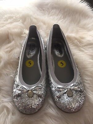 Michael Kors Girls Silver Martina Glitter Ballet Flats With Bows Size - Girls Silver Glitter Ballet Flats