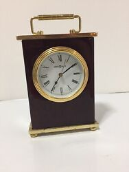 Howard Miller Wooden Carriage Desk Mantel Clock Brass and Rosewood Wood Mantle