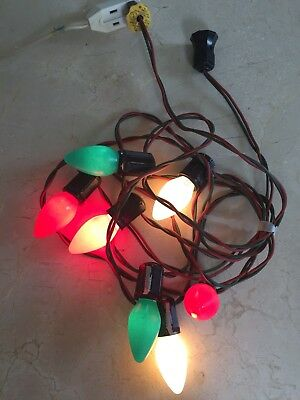 Vtg Christmas Lights 7 Socket String C9 Red Green Wire, Bulbs w/ GE Logo, WORKS