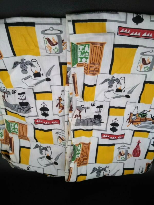 "Vintage 50s 60s Curtain Panel Set Mid Century Kitsch Kitchen Nice 52""x16"""