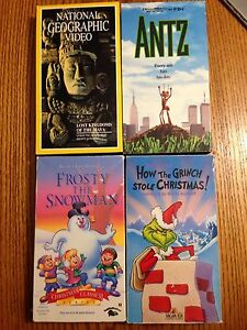 VHS tapes: Frosty, Grinch, NG & Antz