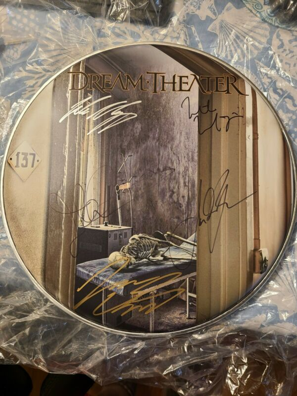 Dream Theater Drum Head Autographed By Full Band