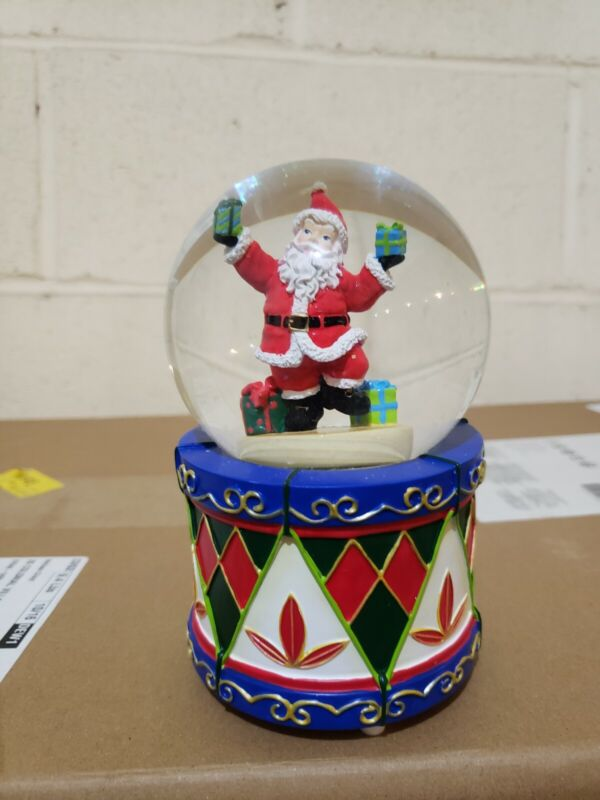 Waterford Holiday Heirlooms Santa snow globe on colorful drum base