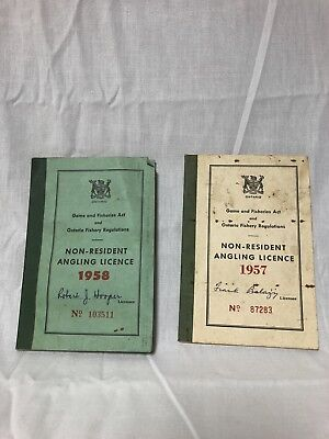 1957 And 1958 Ontario Fishing License Non Resident Angling License