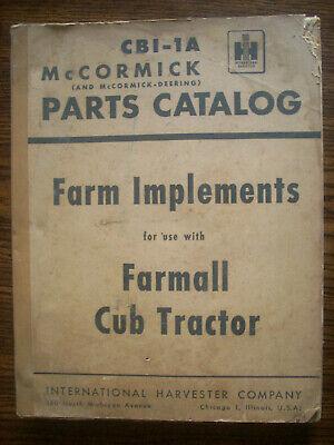 Ih Farmall Mccormick Cub Farm Implements Parts Manual