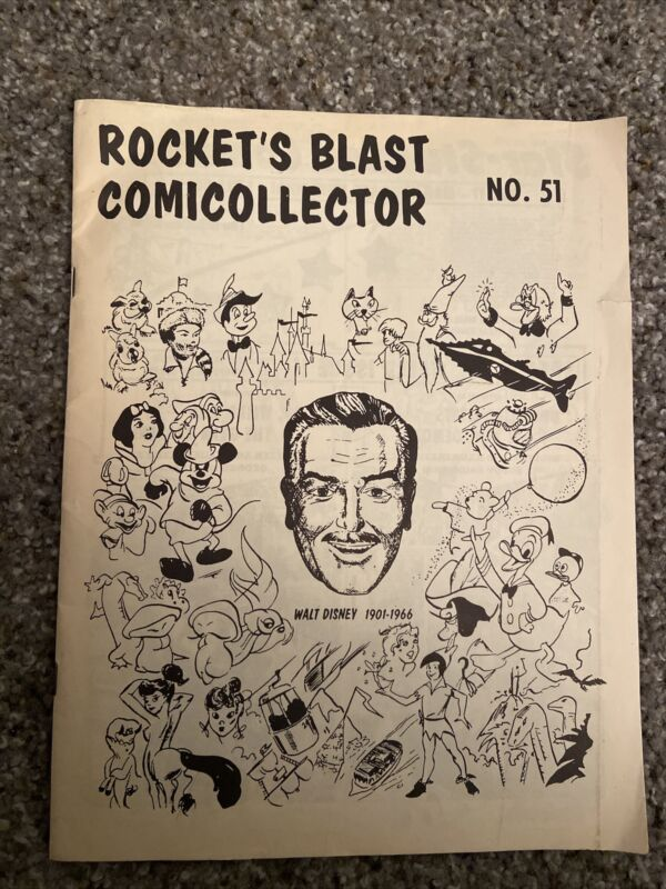 Rocket's Blast Comicollector # 51, Walt Disney Cover 1967. Early Comic Fanzine