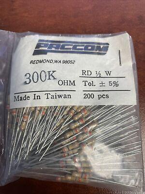 200 Pcs Paccom 300k Ohm 12 Watt 5 Resistors