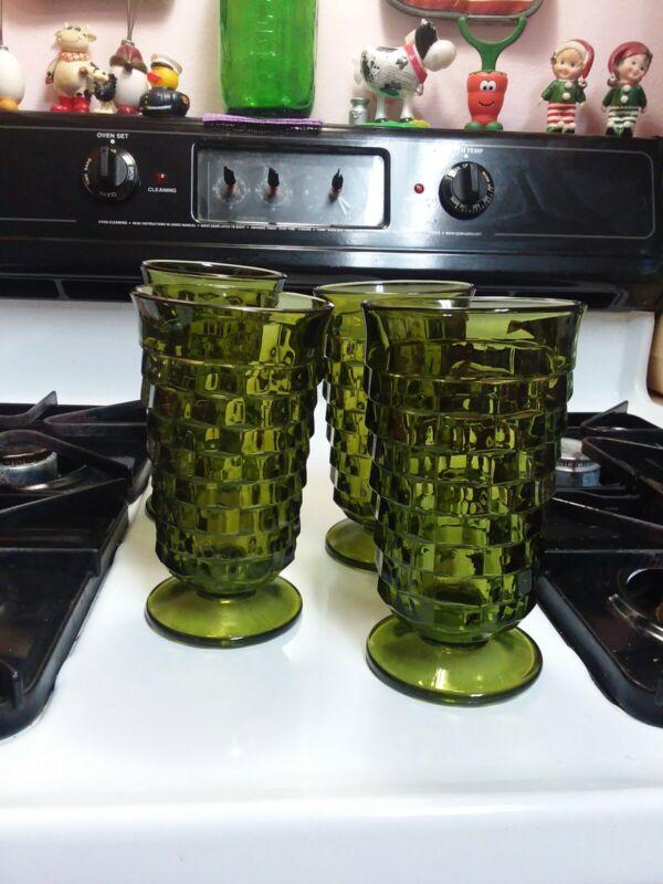4 Vintage MCM Whitehall Colony Avocado Green Footed Cube 12 Oz Iced Tea Glasses