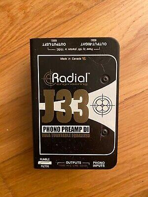 Radial Engineering J33 Turntable Preamp / Direct Box R800 1300 J-33 J 33