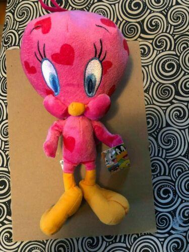 "Looney Tunes Valentine Tweety Bird 11"" Pink Plush With Red Hearts & Original Tag"