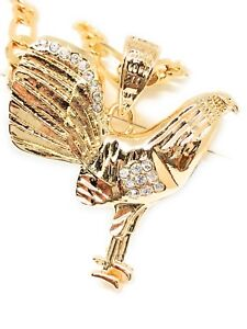 Gallo Medalla Gold P. Chicken Rooster Pendant Necklace 26