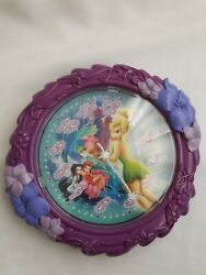 Disney Tinkerbell Wall Clock with 2 Other Fairies Purple Girls Kids Clock