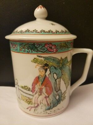Vintage Chinese Porcelain Tea Cup Mug With Lid Asian motive