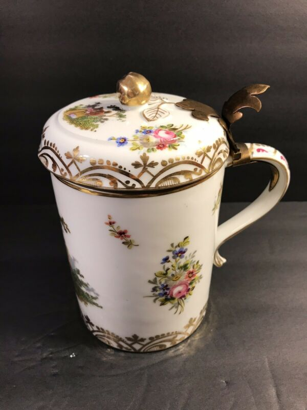 Antique Meissen Porcelain Beer Stein/ Tankard / AR Blue Mark/ Germany C.1880