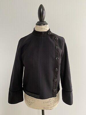 Zara Women Wool Military Navy Black Crop Coat Jacket Velvet Trim Size M