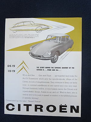 CITROEN DS19 ID19 1957 Sales Dealer Auto Brochure Air-Oil Suspension Excellent
