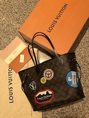 Authentic LOUIS VUITTON NEVERFULL MM TOTE BAG MONOGRAM WORLD TOUR Made In France