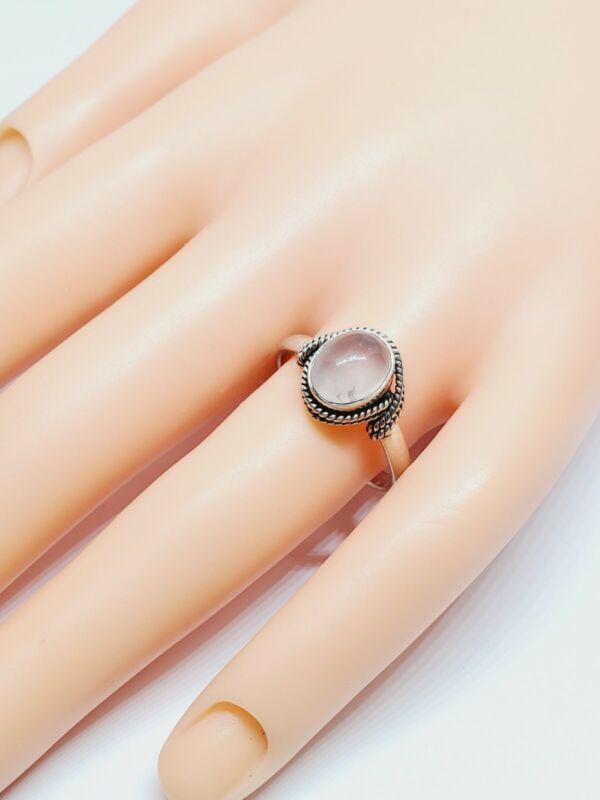 925 Sterling Silver Rope Design Rose Quartz Ring Sz 8.75  (93)