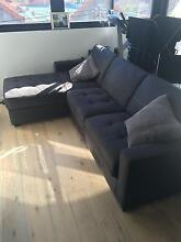 Large 3-Seat Faux Leather Couch / Sofa with Chaise and Sofa-Bed Mosman Mosman Area Preview