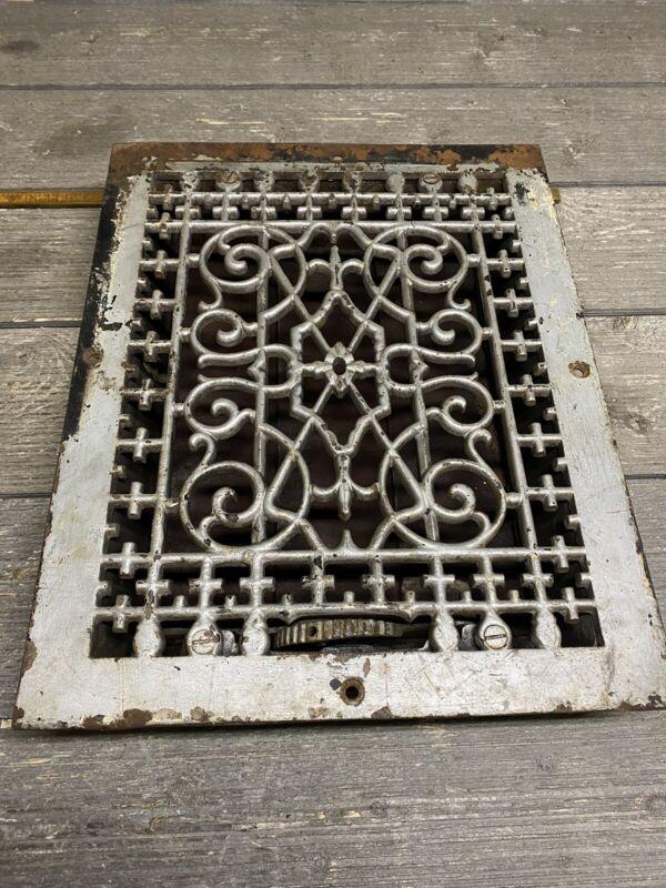 "Antique Victorian Cast Iron Heating Floor Grate Louver Register Vent 12""x 9"""