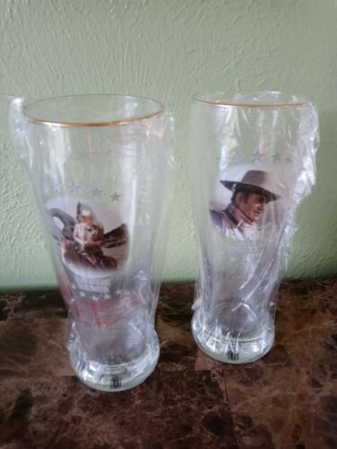 "John Wayne ""Rough Rider"" ~True Courage~ Tall 23oz Pilsner Beer Glasses w/COA"