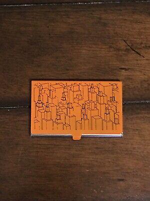 Orange Metal Business Card Holder Buildings Architecture City