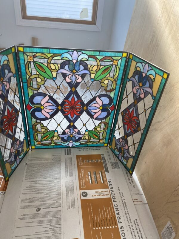 Stained Glass Beautifulfloral Design Fireplace Screen 3 Section