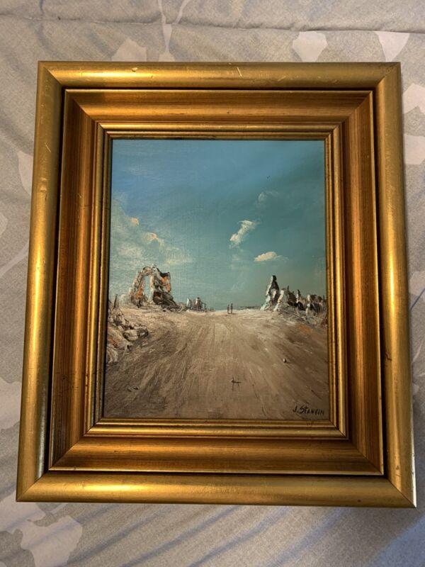 John J. Stancin Ocean Beach Oil Canvas Painting Mid-century8x10 With Frame 12x14