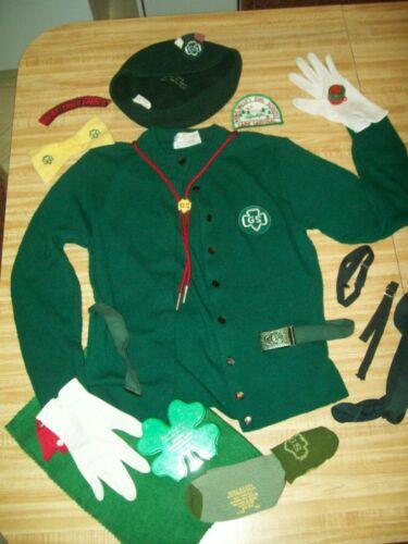 Vintage 1950s-1960s GIRL SCOUTS Uniform hat belt sweater patches shamrock bank +