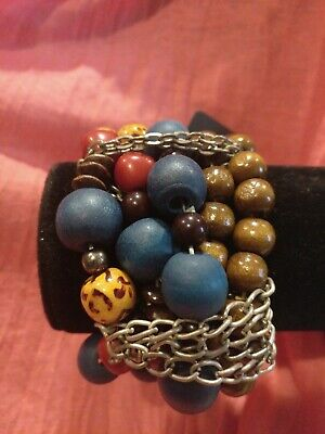 Multi Strand Blue Yellow Red Brown Silver Tone Chain Stretch Elastic Bracelet