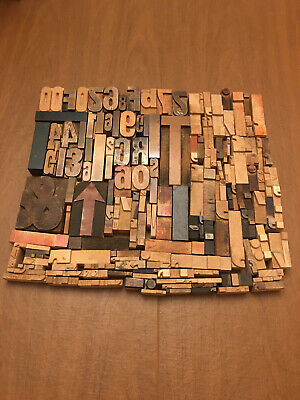 Lot Of 150 Antique Vtg Wood Letterpress Print Type Block Letters Numbers