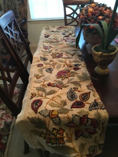 Antique Long Panel Of Crewelwork