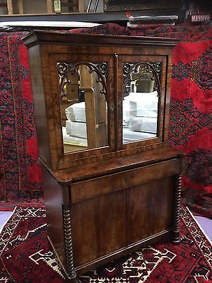 A VERY GOOD FLAMED MAHOGANY VICTORIAN MIRORED SECRETAIRE BOOKCASE