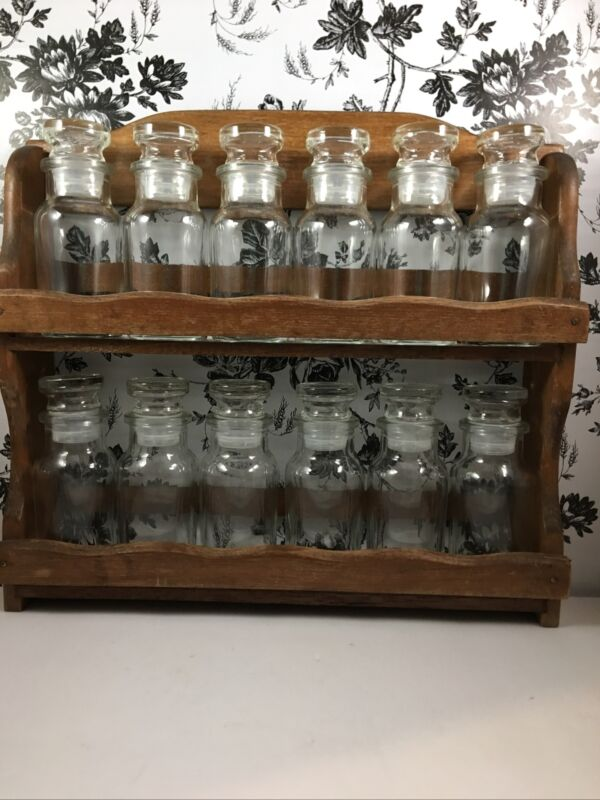 Vintage Wooden Hanging Spice Rack 12 Glass Bottles Japan Nail Polish Sand Holder