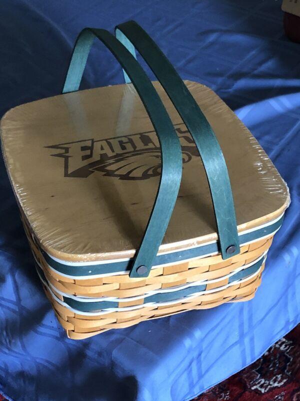 Longaberger Swing Handle Basket Wooden Lid - Philadelphia Eagles-NFL New  Unused
