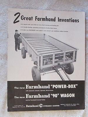1950s Farmhand Power-box Farmhand 90 Wagon 12 Page Brochure