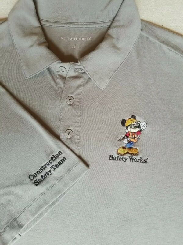 Rare Disney World Parks Construction Cast Exclusive Polo Shirt Mickey Mouse Lg