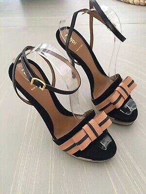 Fendi Suede Black & Tan Leather Bow Shoe Sandal Stilleto - Size 40