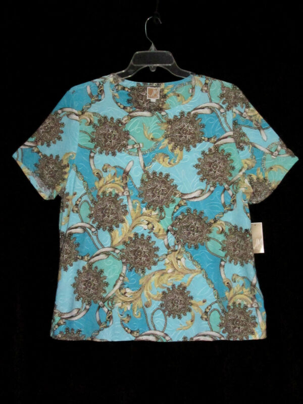 NEW JM Collection 1X Jersey Knit Top Chain Print Blue Neutral  NWT Cat Rescue