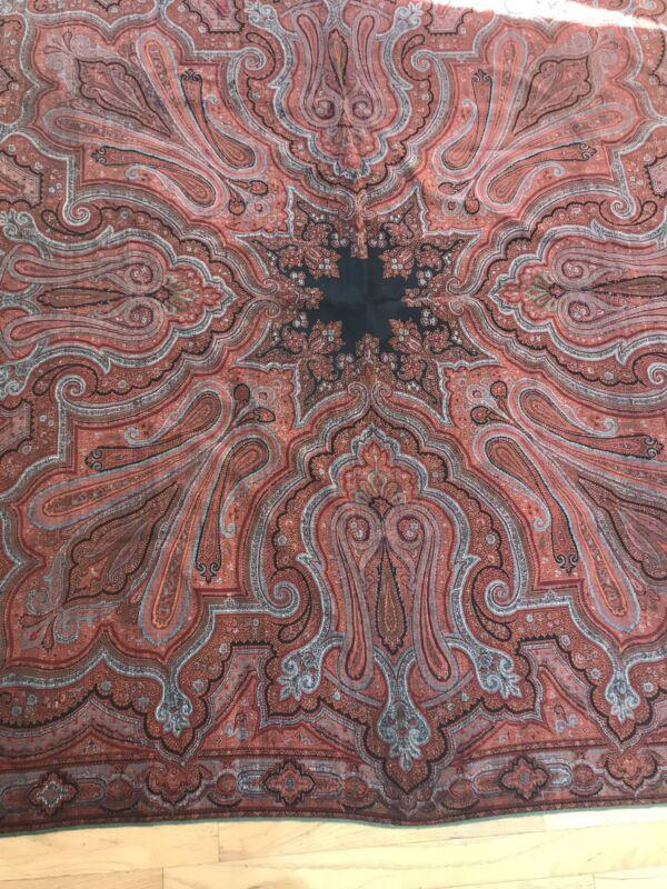 Antique Edwardian Victorian Shawl Kashmir Wool Paisley Handwoven Red Blue Star