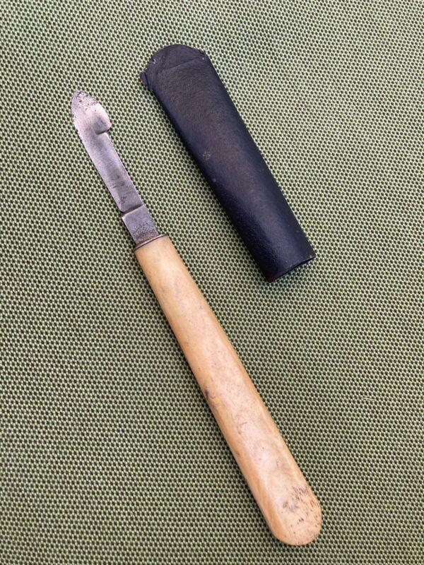 Antique 1800s Bone Handle Scalpel ink eraser + Sheath Miller Bros