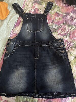 Vintage Overalls & Jumpsuits Wallflower Womens Denim Overalls Skirt  Blue Criss Cross Back Stretch EUC XL $25.00 AT vintagedancer.com