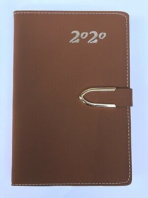 2020 Daily Planner Journal Calendar Organizer Tabbed Magnetic Closure Brown 5x8