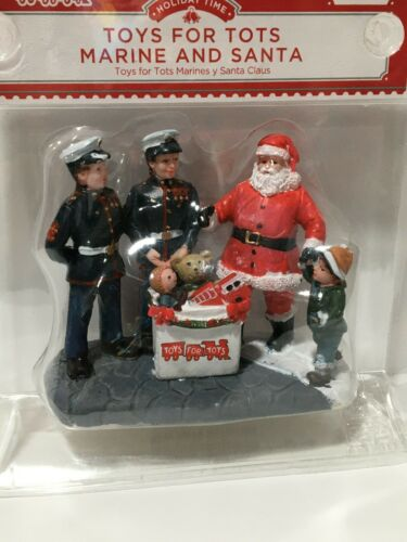 NEW HOLIDAY TIME CHRISTMAS VILLAGE TOYS FOR TOTS MARINE AND SANTA FREE SHIP