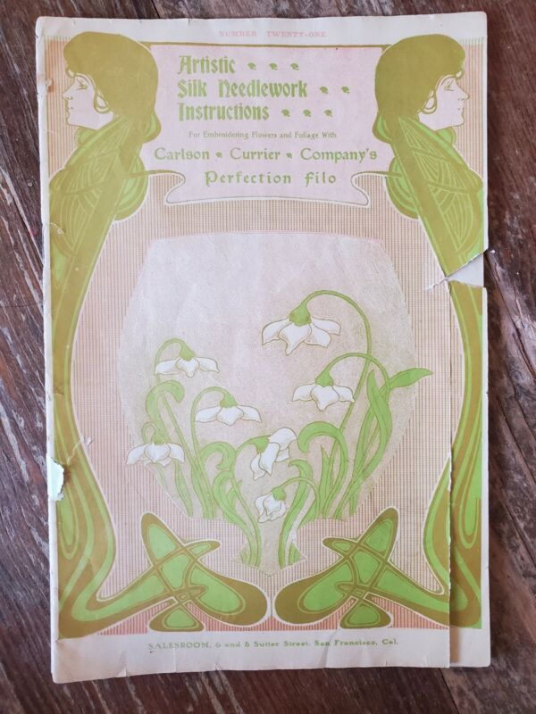 1910 Art Nouveau Silk Needlework Booklet Carlson Currier San Francisco
