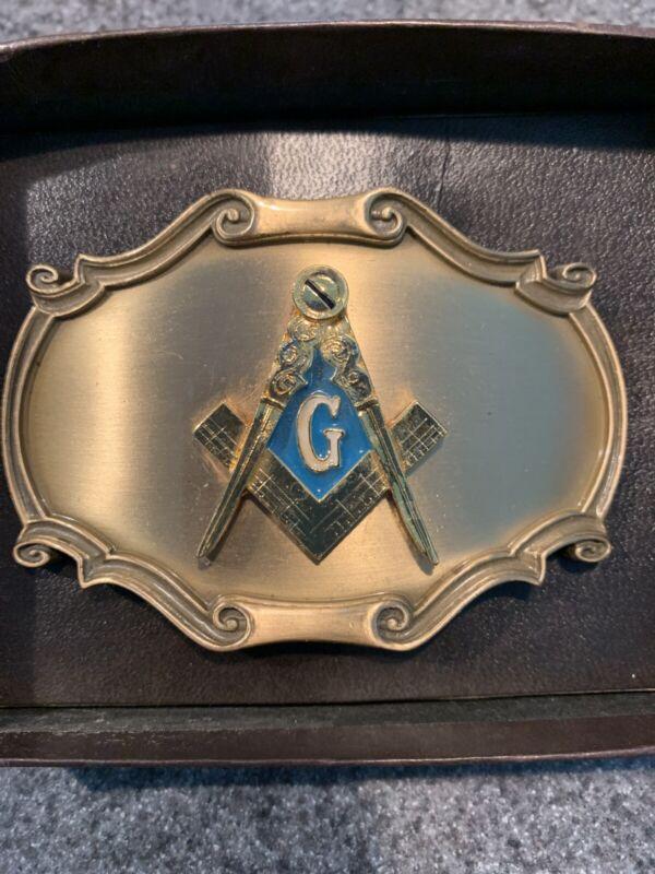 Masonic Belt Buckle By Raintree 1978 Brass Freemasons New Old Stock Vintage