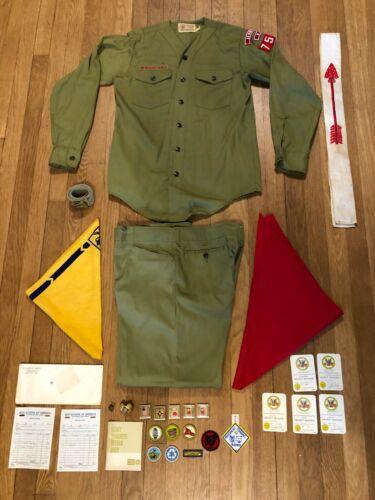 Vintage 60s 70s BSA Boy Scouts Of America Lot Uniforms, Merit Badges & More