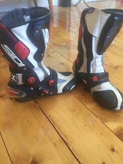 Sidi Motorcycle Boots -White Leather size UK 9 US 9.5
