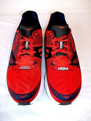 MENS HOKA ONE ONE 'TRACER' TIME TO FLY RED RUNNING TRAINERS 8.5 UK WORN ONCE